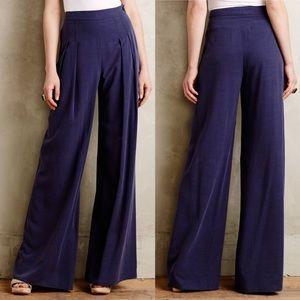 NWT Elevenses Blue linen wide leg sailor trousers